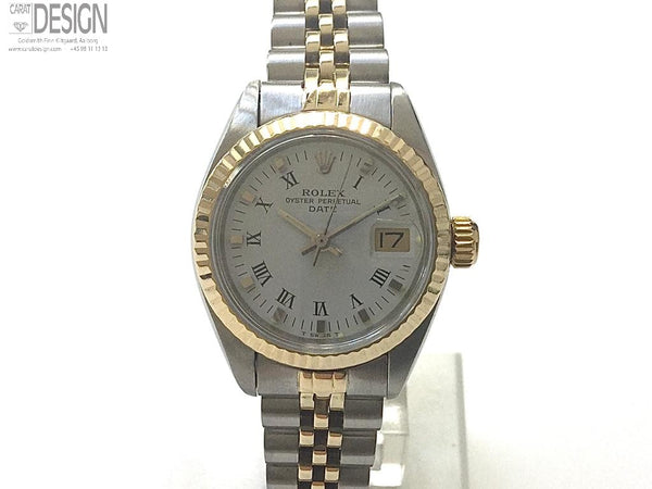 Rolex Date ladies steel gold. Serviced. Box-paper