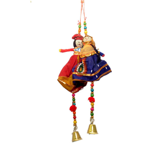 Handmade Recycled Material Rajasthani Doll Puppets Car/Door Hangings Diwali