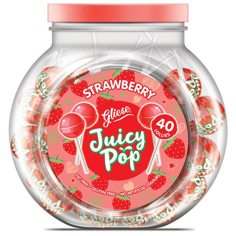 Gliese Juicy Pop Strawberry Lollies 40 Pack-200gms