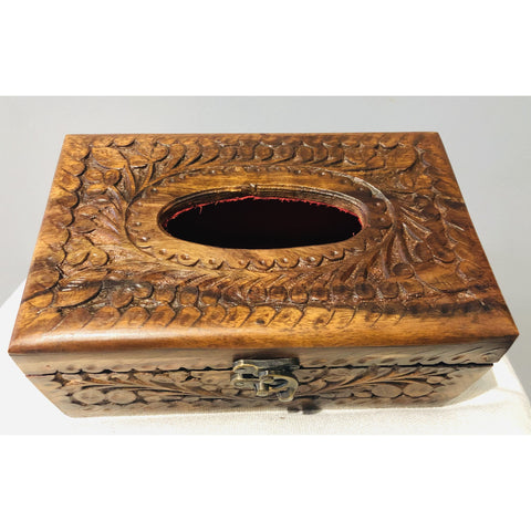 Hand Crafted Tissue Wooden Box | Makes a great Gift