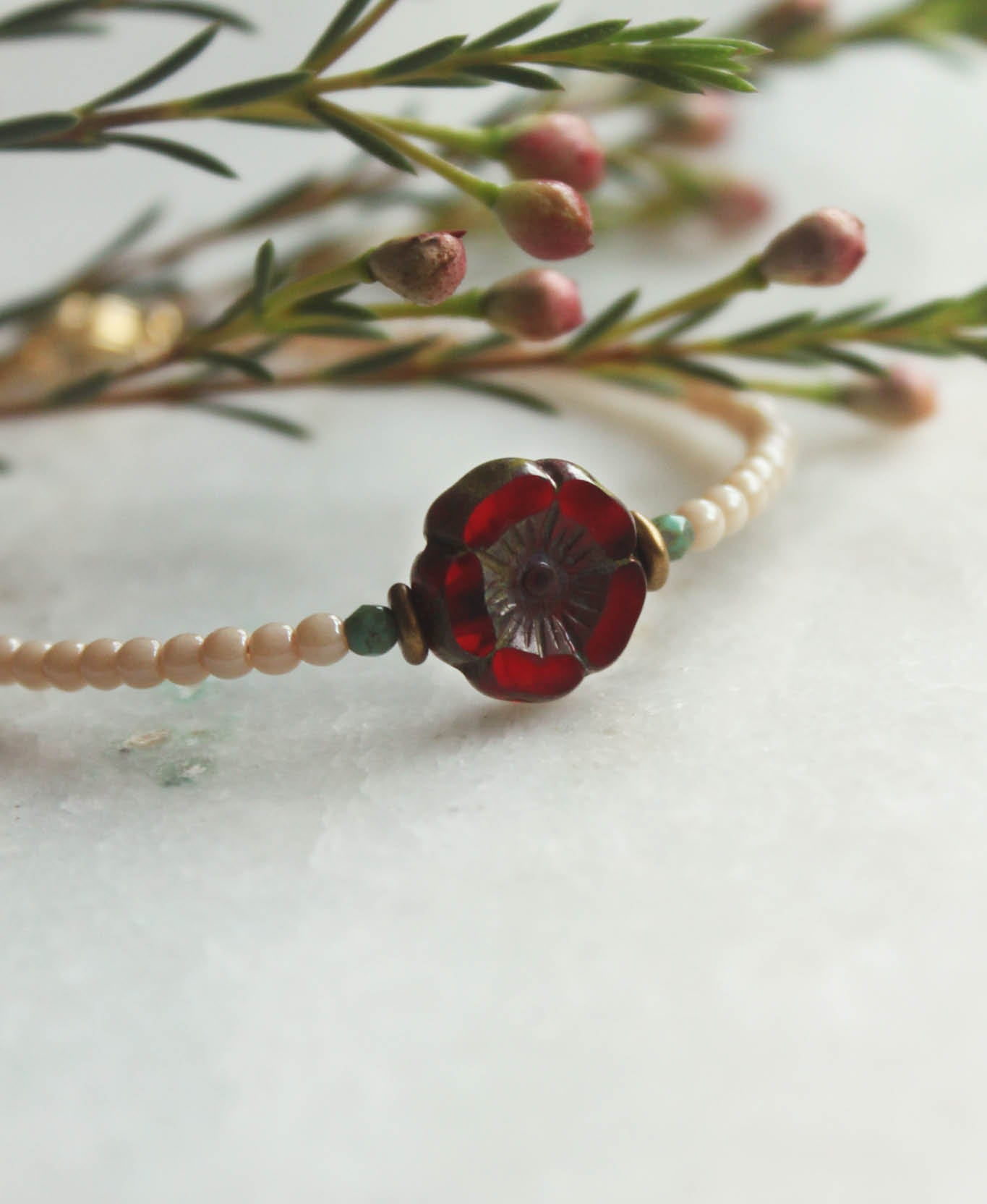 Armband • KESHI flower - Ruby