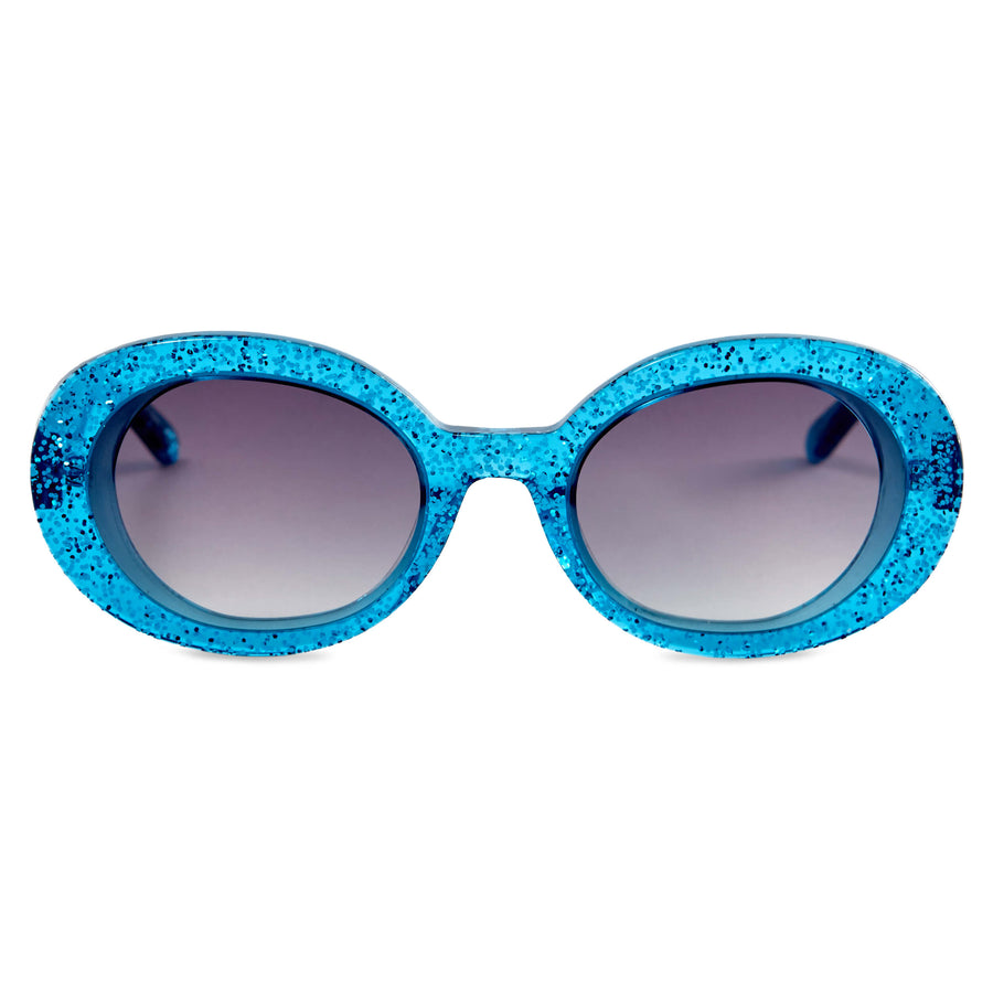 Selena Turquoise Glitter | Vow London | turquoise sunglasses
