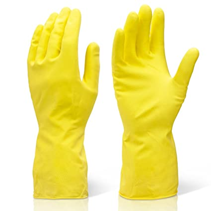 Yellow Rubber Gloves Large 6 Pairs