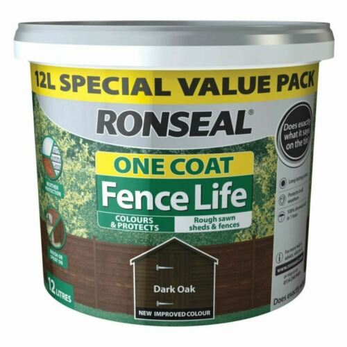 RONSEAL 1 COAT FENCELIFE DARK OAK 12L