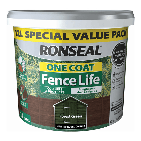 RONSEAL 1 COAT FENCELIFE FOREST GREEN 12L