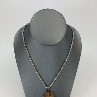 "Primary Photo - BRAND: REPURPOSED GUCCI STYLE: NECKLACE COLOR: BROWN OTHER INFO: LARGE OVAL SKU: 315-31513-72296STAINLESS STEEL 18"" CHAIN."