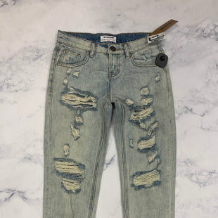 "Primary Photo - BRAND:  ONE X TEASPOON STYLE: JEANS DESIGNER COLOR: DENIM SIZE: 2 OTHER INFO: ONE X ONETEASPOON - SKU: 315-31513-72626""FREE LOVE"" ON BACK OF JEAN CUFF"