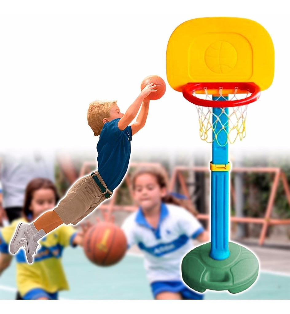 Tablero Aro Basquetbol Pvc C/base Red + Pelota Basket (4973632487563)