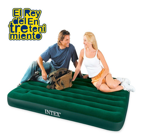 Colchón Inflable Intex 1 1/2plaza Grande Camping +inf (4973483458699)