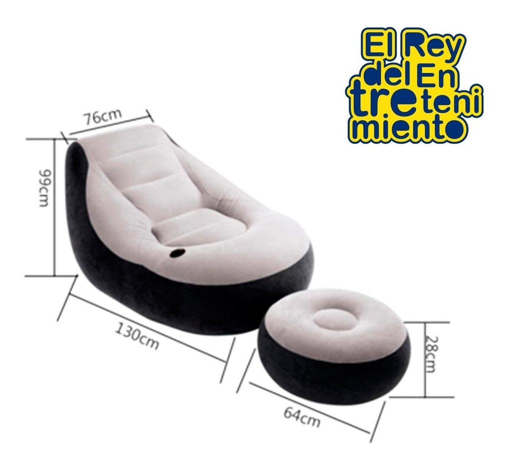 Set Intex Sillón + Apoya Pies Puff Asiento Inflable (4973619904651)