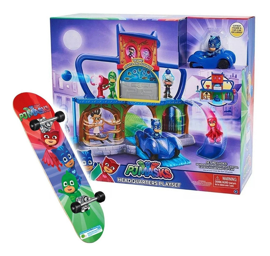 Pj Masks Pista Autos Cuartel Guarida Secreta + Skate! (4973599031435)