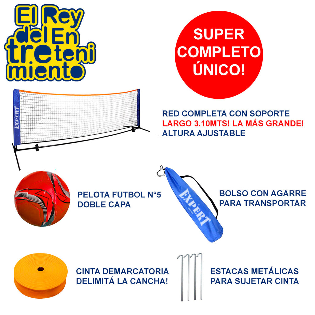 Set Red De Fútbol Tenis Playa + Soporte + Bolso (4973623640203)