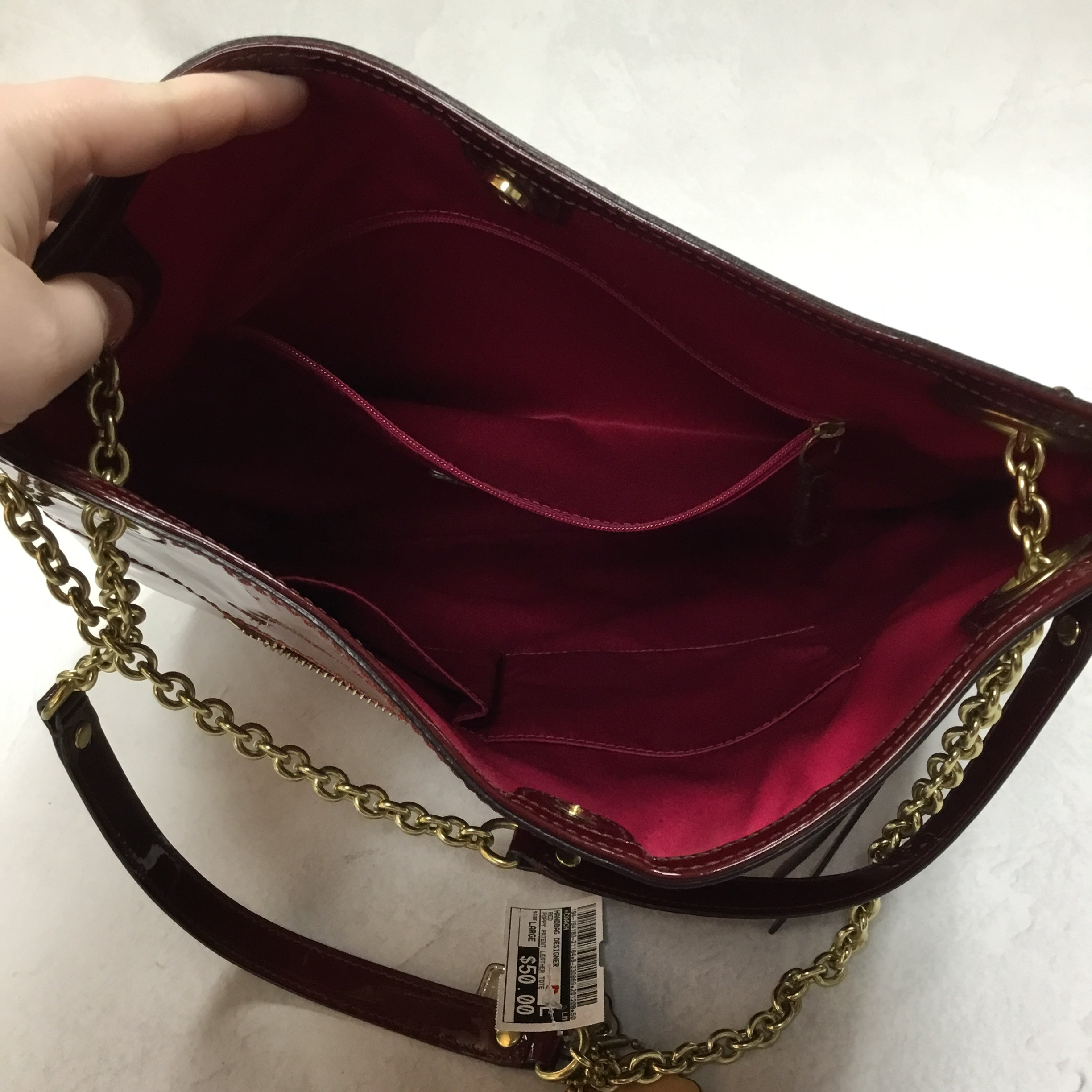 Photo #5 - BRAND: COACH <BR>STYLE: HANDBAG DESIGNER <BR>COLOR: RED <BR>SIZE: LARGE <BR>OTHER INFO: POPPY PATENT LEATHER TOTE <BR>SKU: 194-194183-21184
