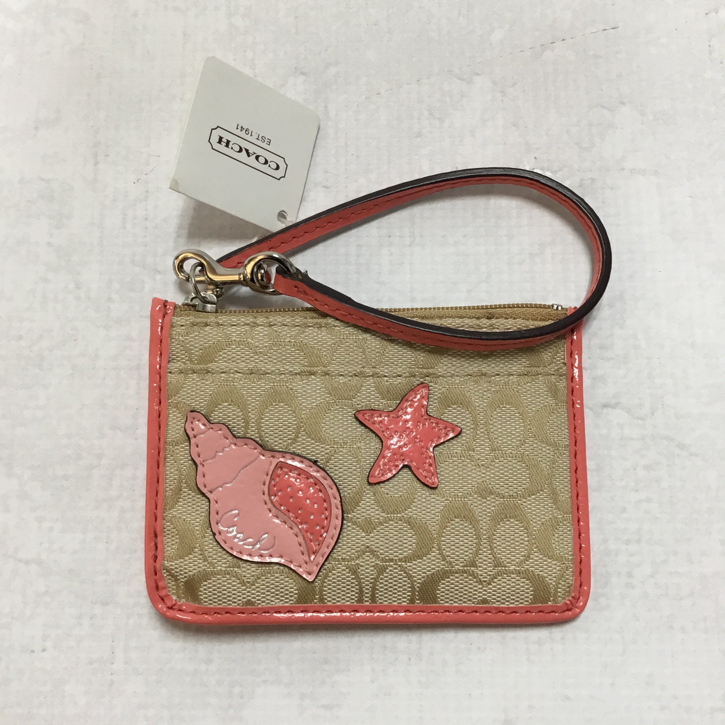 Primary Photo - BRAND: COACH <BR>STYLE: COIN PURSE <BR>COLOR: MONOGRAM <BR>SIZE: SMALL <BR>OTHER INFO: WITH WRIST STRAP <BR>SKU: 194-19414-36812