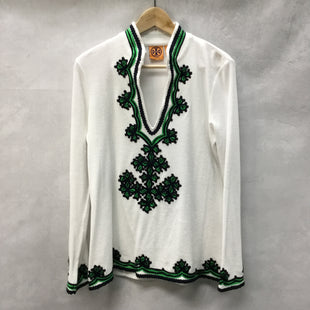 Primary Photo - BRAND: TORY BURCH STYLE: TOP LONG SLEEVE COLOR: WHITE GREEN SIZE: M SKU: 194-194225-995