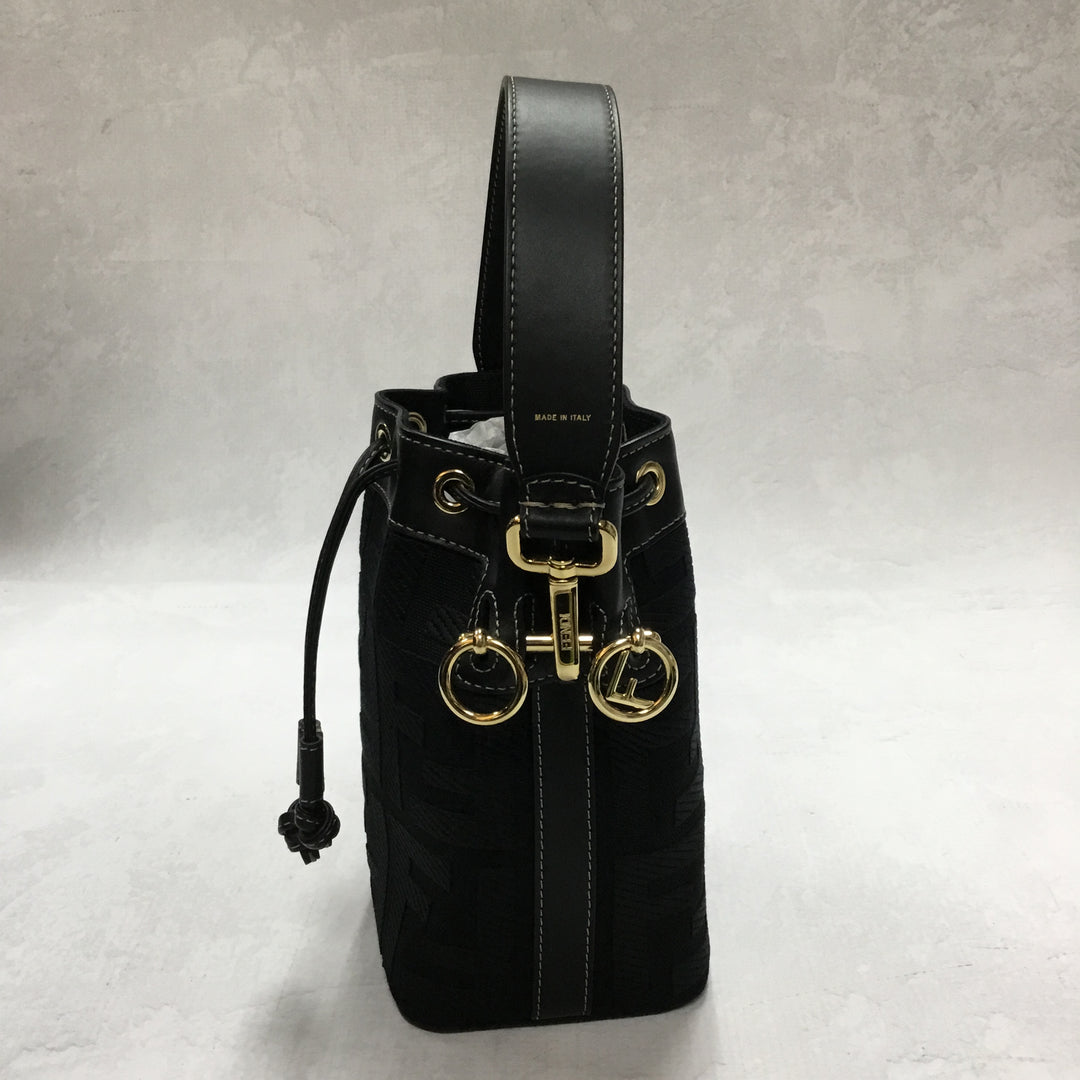 Photo #2 - <P>BRAND: FENDI <BR>STYLE: HANDBAG DESIGNER <BR>COLOR: BLACK <BR>SIZE: SMALL <BR>OTHER INFO: MINI MON TRESOR CANVAS BUCKET BAG <BR>SKU: 194-19414-36310</P> <P>WITH ENTRUPY CERTIFICATION</P> <P>LENGTH 4.7 IN, HEIGHT 7.1 IN, DEPTH 3.9 IN</P> <UL></UL>