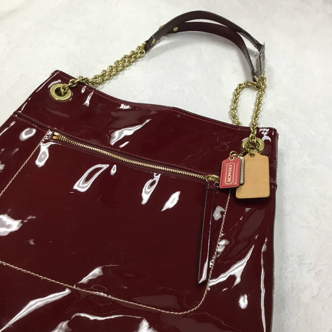 Photo #1 - BRAND: COACH <BR>STYLE: HANDBAG DESIGNER <BR>COLOR: RED <BR>SIZE: LARGE <BR>OTHER INFO: POPPY PATENT LEATHER TOTE <BR>SKU: 194-194183-21184