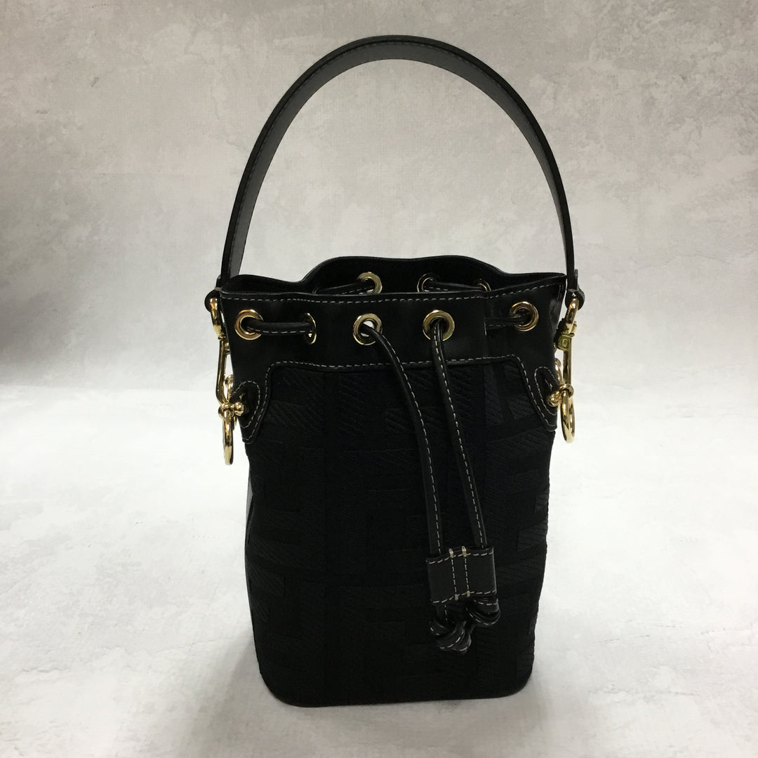 Photo #1 - <P>BRAND: FENDI <BR>STYLE: HANDBAG DESIGNER <BR>COLOR: BLACK <BR>SIZE: SMALL <BR>OTHER INFO: MINI MON TRESOR CANVAS BUCKET BAG <BR>SKU: 194-19414-36310</P> <P>WITH ENTRUPY CERTIFICATION</P> <P>LENGTH 4.7 IN, HEIGHT 7.1 IN, DEPTH 3.9 IN</P> <UL></UL>
