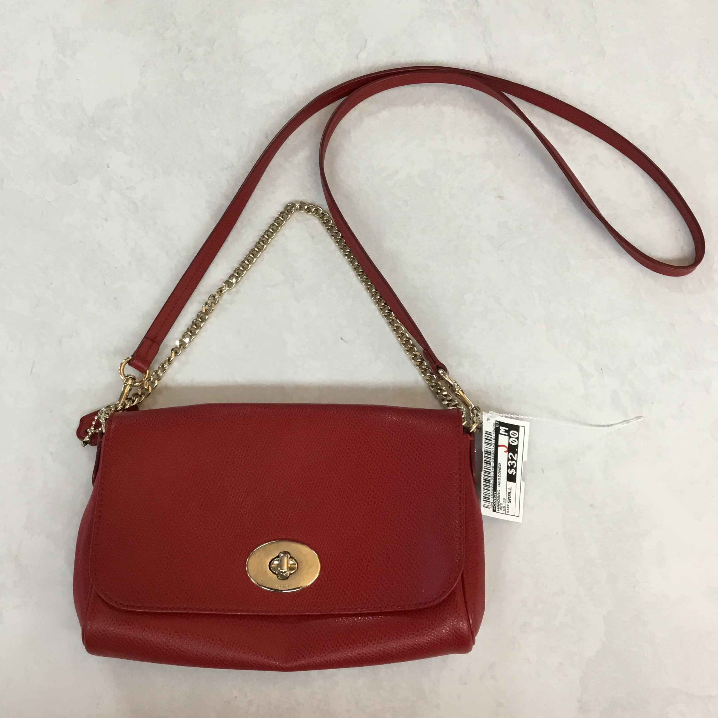 Primary Photo - BRAND: COACH <BR>STYLE: HANDBAG DESIGNER <BR>COLOR: RED <BR>SIZE: SMALL <BR>OTHER INFO: AS IS <BR>SKU: 194-194229-3313<BR>BOTH CLUTCH CHAIN AND CROSSBODY STRAP CAN COME COMPLETELY OFF. <BR>8X5.5X1