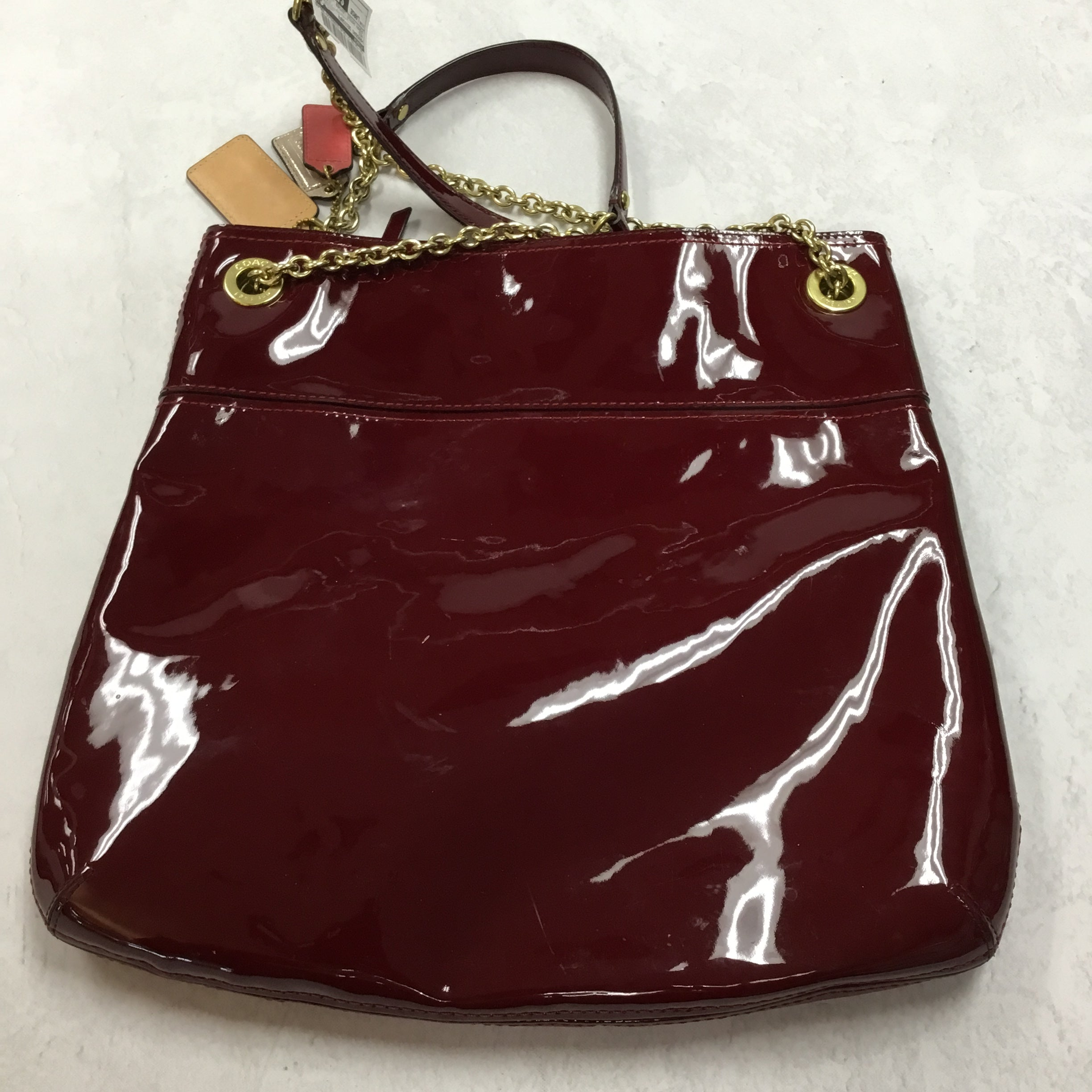 Photo #2 - BRAND: COACH <BR>STYLE: HANDBAG DESIGNER <BR>COLOR: RED <BR>SIZE: LARGE <BR>OTHER INFO: POPPY PATENT LEATHER TOTE <BR>SKU: 194-194183-21184