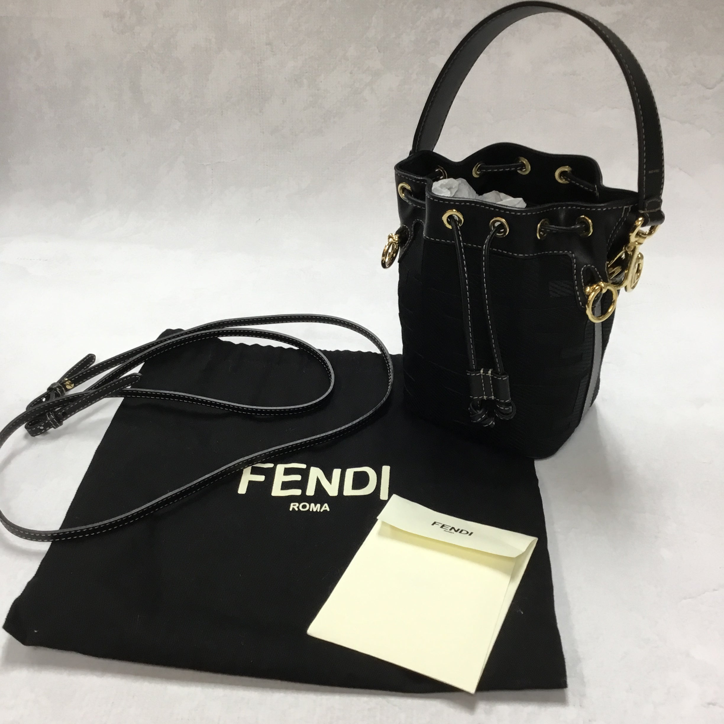 Primary Photo - <P>BRAND: FENDI <BR>STYLE: HANDBAG DESIGNER <BR>COLOR: BLACK <BR>SIZE: SMALL <BR>OTHER INFO: MINI MON TRESOR CANVAS BUCKET BAG <BR>SKU: 194-19414-36310</P> <P>WITH ENTRUPY CERTIFICATION</P> <P>LENGTH 4.7 IN, HEIGHT 7.1 IN, DEPTH 3.9 IN</P> <UL></UL>