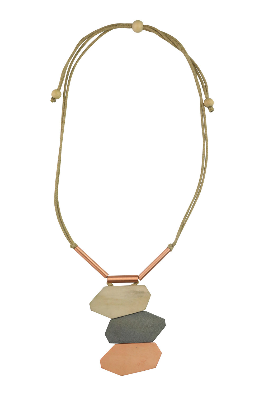 Rose Gold 3 Block Detail Necklace - Kenzie Tenzie