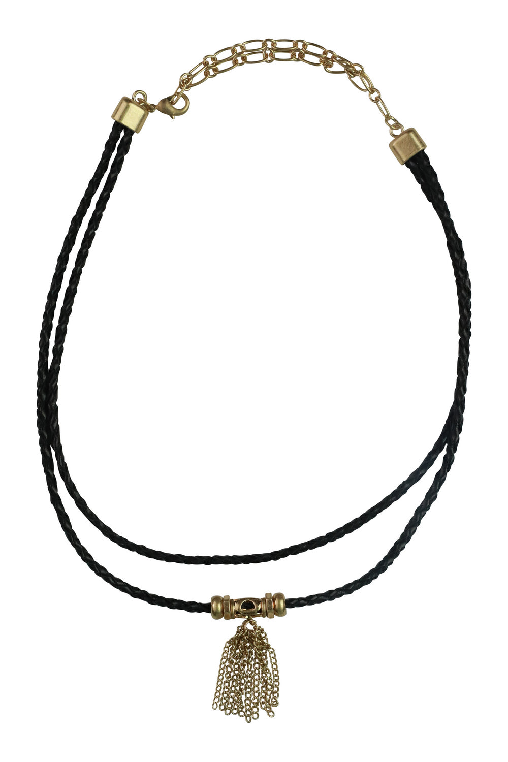 Faux Leather Plait Necklace with Metal Tassle Detail - Black - Kenzie Tenzie
