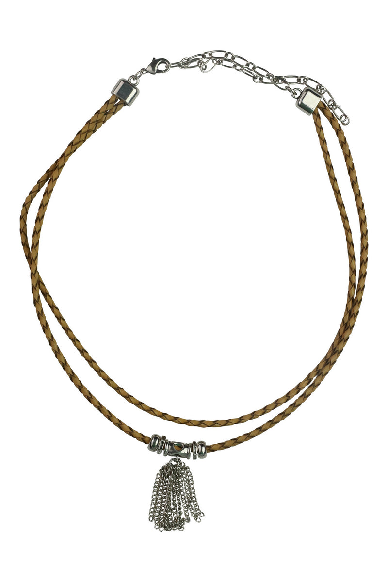 Faux Leather Plait Necklace with Metal Tassle Detail - Tan - Kenzie Tenzie