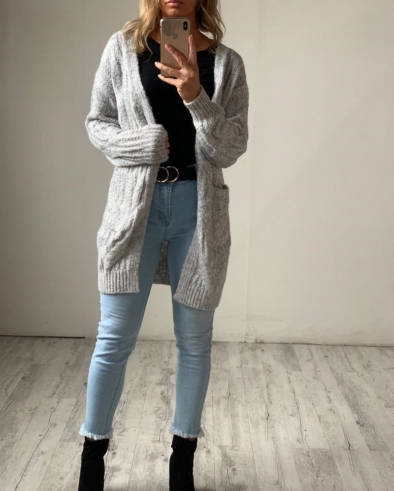Cosy Knit Cardigan - Grey
