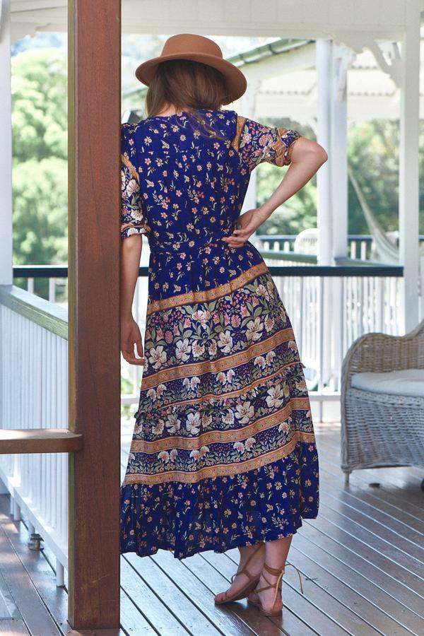 Murano Maxi Dress in Royal Print by Jaase