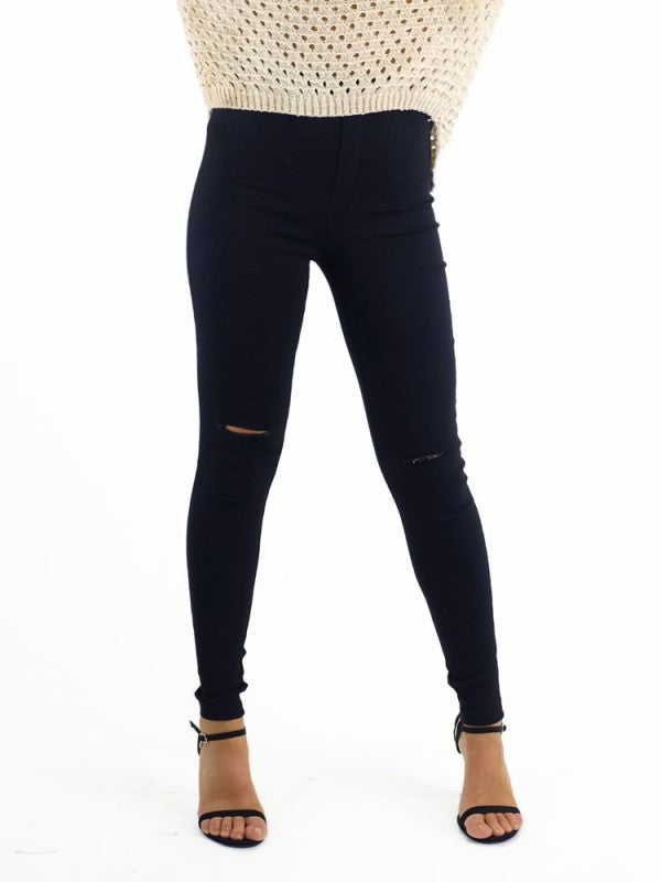 Ava Mia Jegging High Waisted with Knee Rip - Black - Kenzie Tenzie