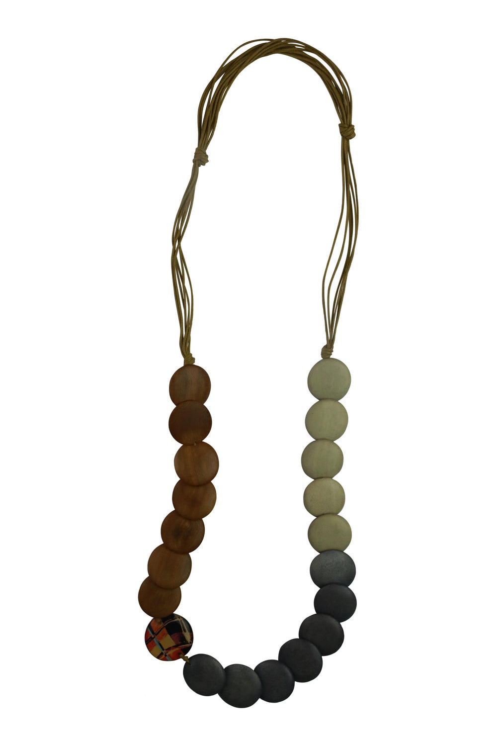 Button Detail Necklace - Tan - Kenzie Tenzie