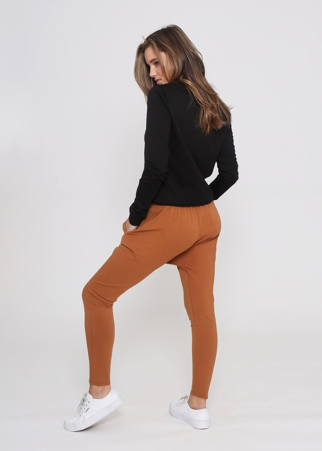 Kierra Drop Crutch Slouch Jogger Pants - Mustard Rust