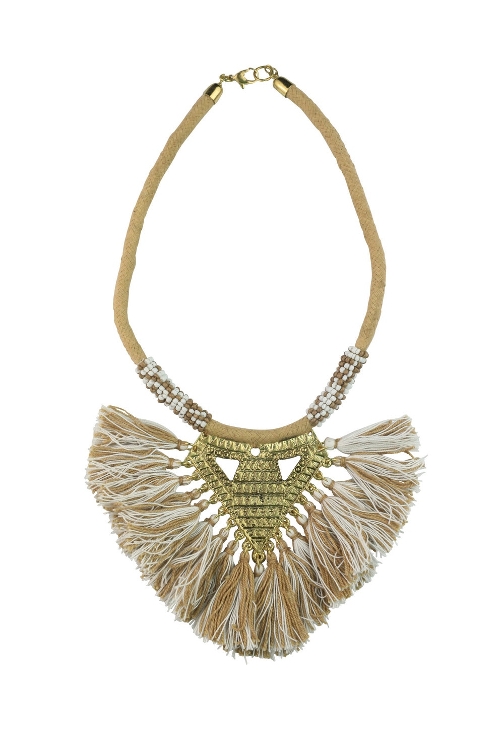 Beaded Boho Tassle Necklace – Natural - Kenzie Tenzie
