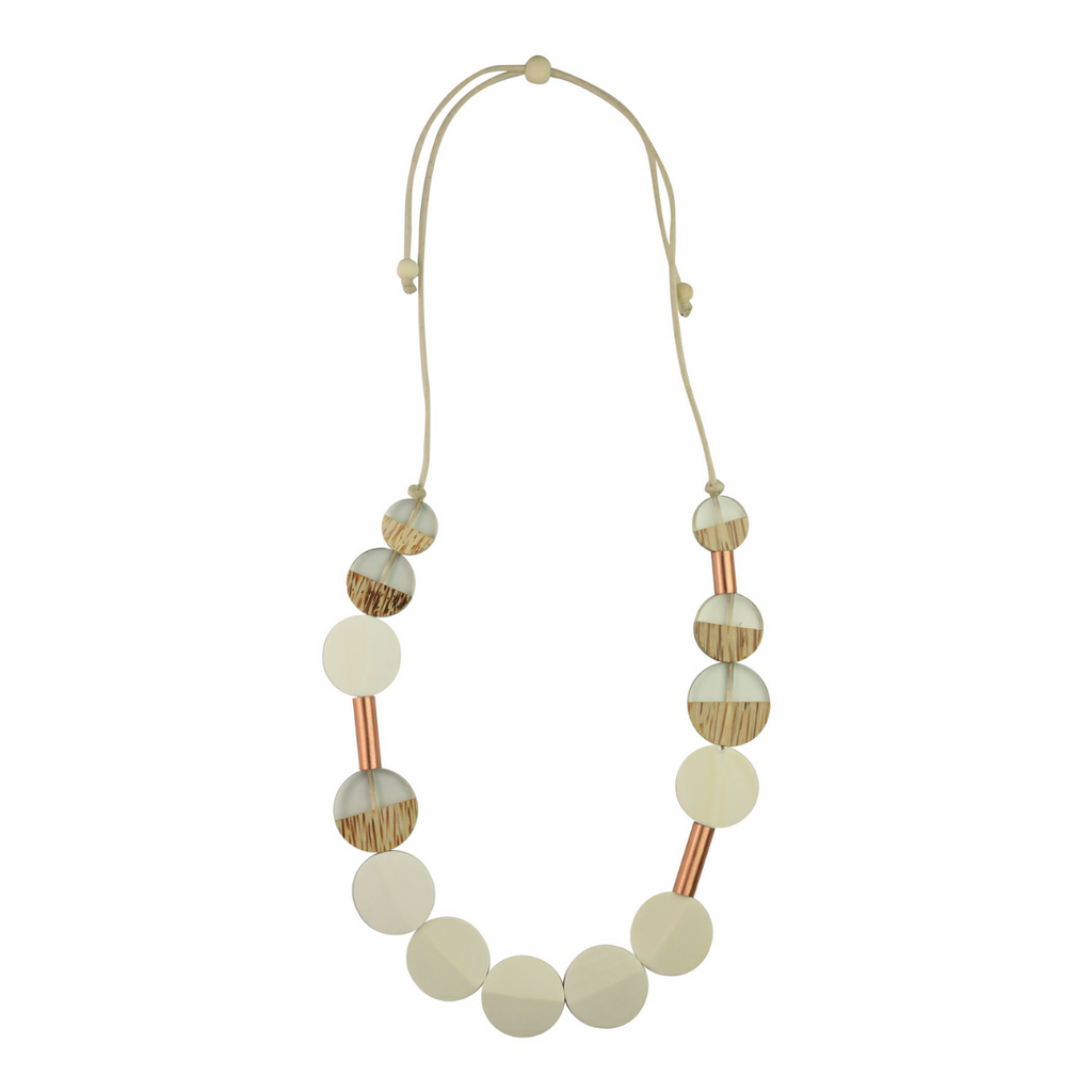 Rose Gold Two Tone Detail Necklace – White - Kenzie Tenzie
