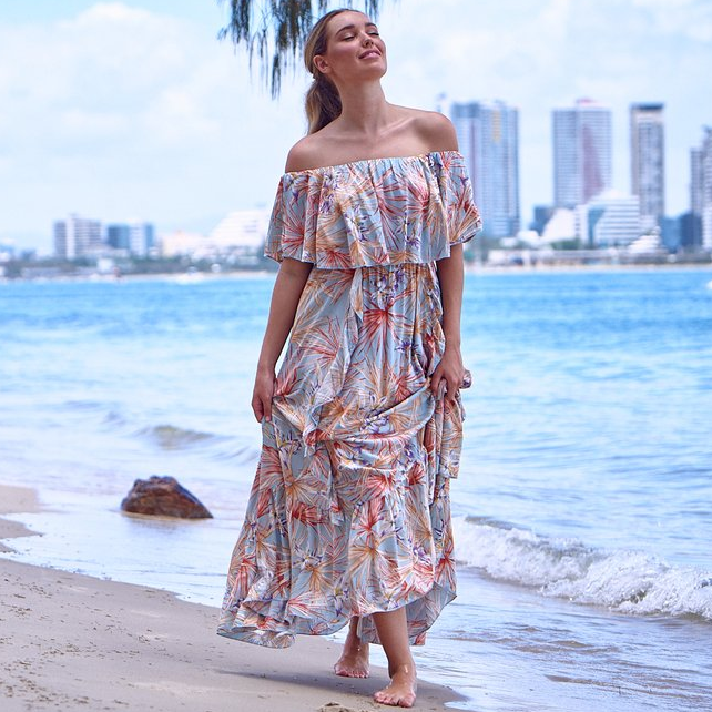 Jaase Georgie Maxi Dress Sail Away Print - Kenzie Tenzie