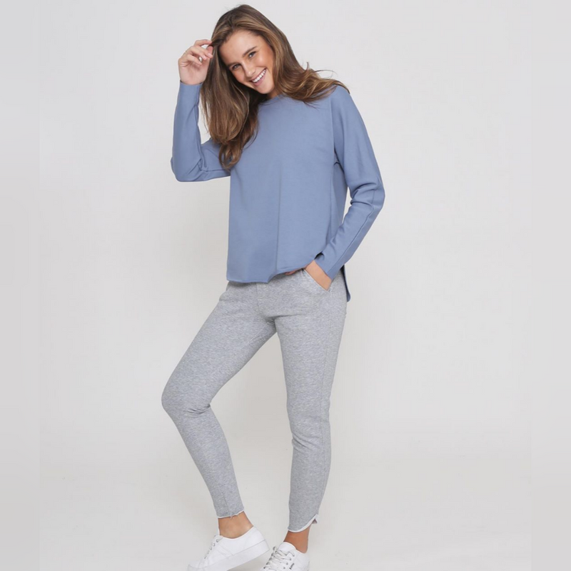 Fulton Raw Hem Sweater Top - Blue