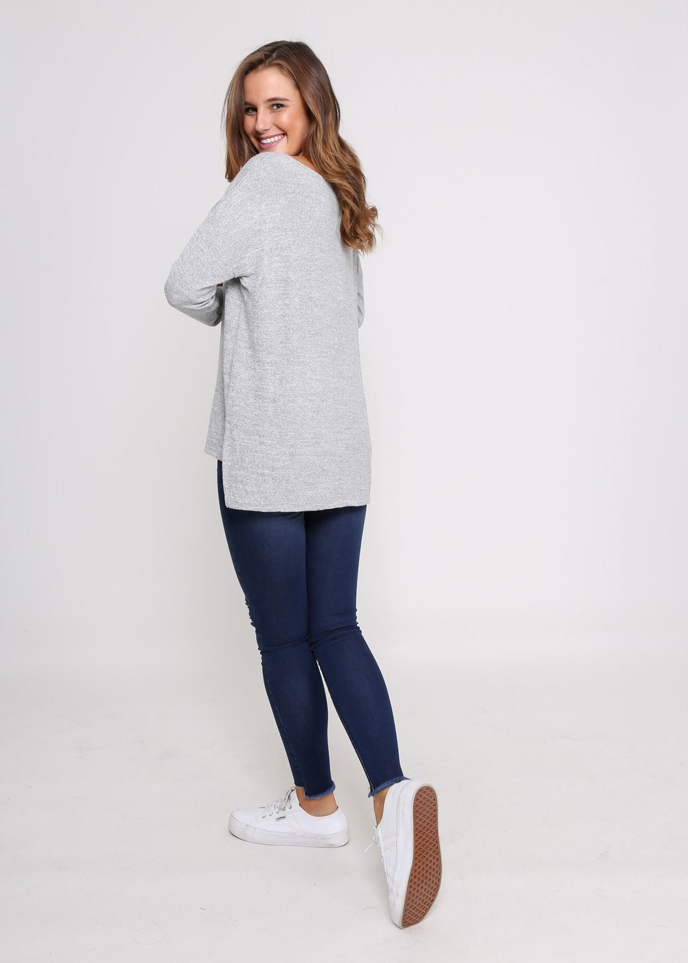 Milly Knit Top - Grey Marle - Kenzie Tenzie