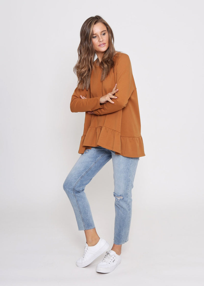 Terry Ruffle Sweater Top - Mustard Rust