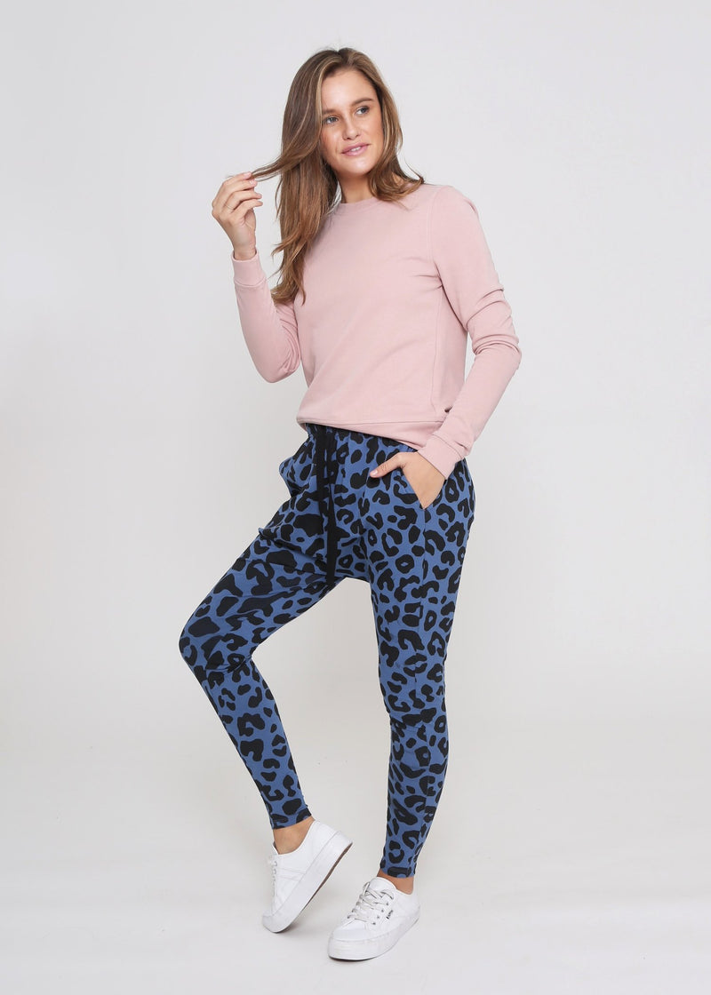 Jordan Drop Crutch Slouch Jogger Pants - Denim Blue Leopard