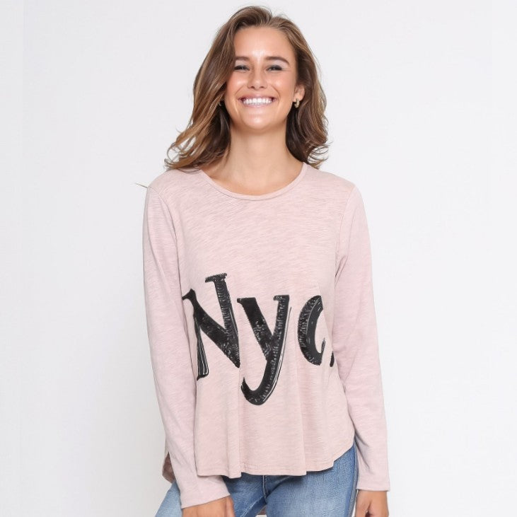 Nyc. Long Sleeve Tee - Blush