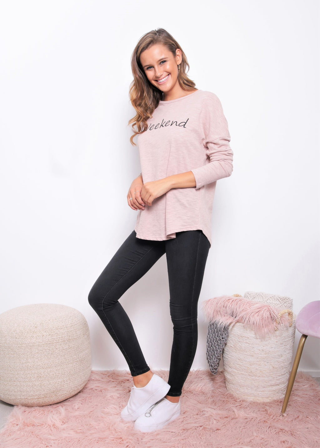 Weekend Long Sleeve Tee - Blush - Kenzie Tenzie