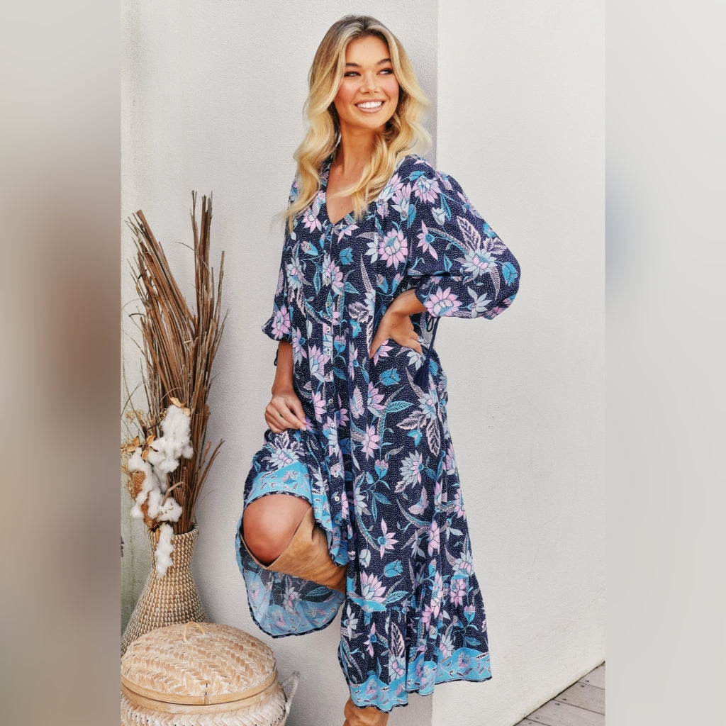Rosalie Maxi Dress Blue Wildflowers Print by Jaase