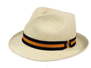 Henley Panama Trilby in Natural/Orange
