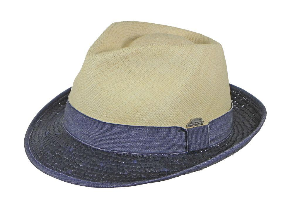 London Panama Trilby in Natural/Navy