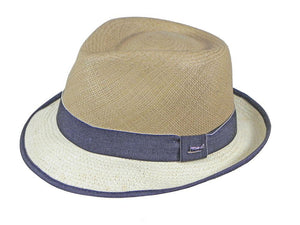 London Panama Trilby in Taupe/White