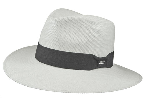 Hamilton Panama Fedora in White/Black