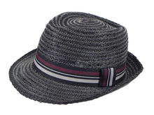 Load image into Gallery viewer, Cobra Raffia Trilby in Black