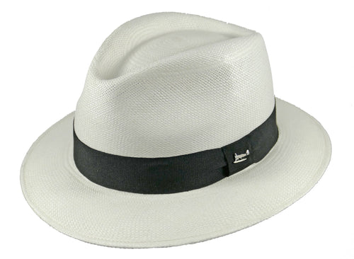 Sandown Panama Trilby in White/Black