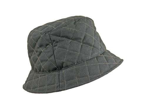 WSC16 Quilted Wax Bucket Hat in Black/Check